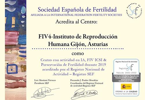 Centro acreditado por la Sociedad Española de Fertilidad